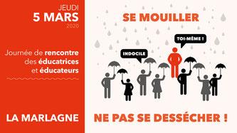 Affiche de l'évènement du 5 mars 2020 : rencontre entre éducateurs et éducatrices à la Marlagne