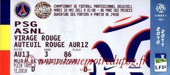 Ticket  PSG-Nancy  2010-11
