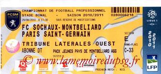 Ticket  Sochaux-PSG  2010-11
