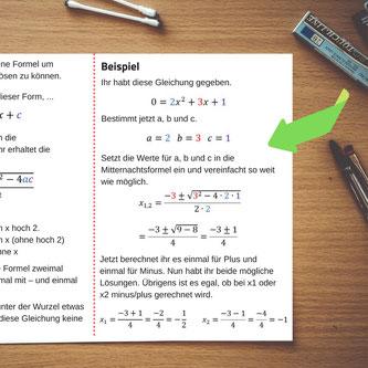 Beispielaufgabe auf einem Spickzettel A6 zur Vertiefung des Verständnisses.