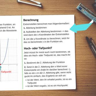 Beispiel eines Spickzettels mit Schritt-für-Schritt Erklärungen.