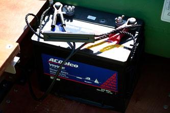 バッテリー。大型のエレキを使う際には2台使用する。
