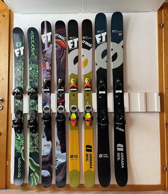 Wandhalterung Wandmontage Ski horizontal vertikal Ski Halterung wall mount Sonderanfertigung Fixie