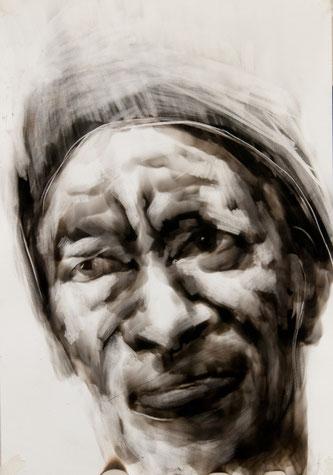 """""""Smoke on Paper"""", Ausstellung, """"ZWISCHEN ZEIT"""", Tina Wohlfarth, East65th, tOG, take OFF GALLERY, Düsseldorf, NRW, Portrait, Malerei,"""