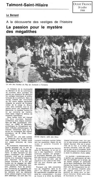 1989 - La passion pour le mystère des mégalithes - Ouest France