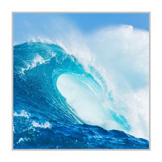 """Bildheizung """"Welle"""" 300 Watt, 60x60cm, hier mit Silberrahmen, zum Vergrößern anklicken!"""