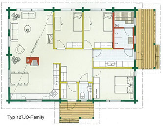 Blockhaus als Wohnhaus - Typ 127JO-Family