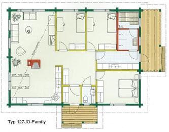 Blockhaus Wittenberge als Wohnhaus - Typ 127JO-Family - Einfamilienhaus  bis vier Personen - Wohnblockhaus Bungalow