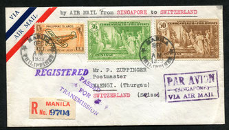 "24.12.1939 Manila, R-brief mit IMPERIAL AIRWAYS via Singapore bis Rom, rückseitig Transitstempel von Singapore, Brindisi, Rom, Mailand und AKST. von Wängi vom 11.1.1940. Zensur-Vermerkstempel ""PASSED FOR TRANSMISSION""."