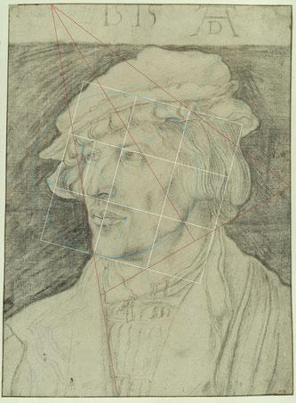 (Bild 36) Albrecht Dürer, Bildnis eines jungen Mannes, 1515, Kohle auf Papier, Einfassungslinien mit Feder in Braun, 37 x 27,5 cm, Inv.Nr. KdZ 1528, Kupferstichkabinett / Staatliche Museen zu Berlin