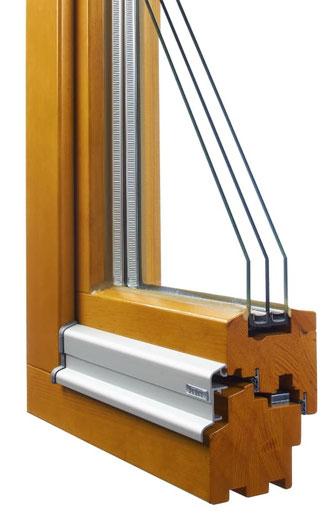 Holz Fensterrahmen, Kiefer, flächenversetzt, Mitteldichtung