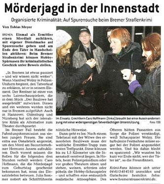 """Zeitungsartikel im Bremer Anzeiger vom 24.11.2010: """"Mörderjagd in der Innenstadt""""- Quelle: Bremer Anzeiger"""