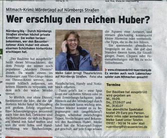"""Zeitungsartikel der prima Sonntag vom 05.09.2007: """"Mitmach-Krimi: Mörderjagd auf Nürnbergs Straßen""""- Quelle: prima Sonntag"""