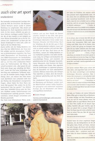 """Zeitungsartikel im Stadtkind Hannover vom Juli 2009: """"Auch eine Art Sport""""-Quelle: Stadtkind"""