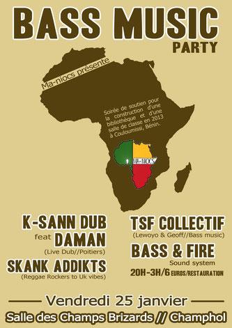 """Affiche de la soirée """"Bass Music Party #2 """"  25 janvier 2013"""