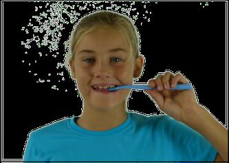 Querputzen: Die Bürste wird über den neuen Zähnen quer angesetzt und hin und her bewegt (© Doc S)