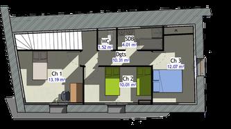 Plan R+2 Maison en pierre à Romanèche