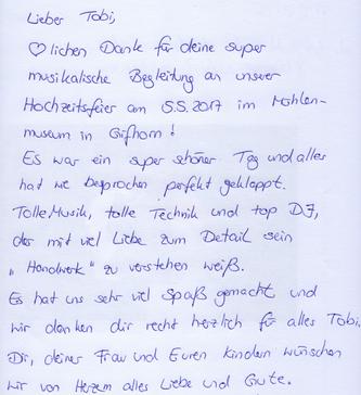 Eintrag aus meinem DJ Gästebuch als Hochzeits-DJ in Gifhorn. Tolle Musik, tolle Technik...mit viel Liebe zum Detail.