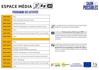 Aperçu du programme de l'Espace Média du Salon des Possibles