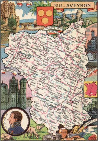 Recto d'une carte postale timbrée envoyée depuis l'Aveyron
