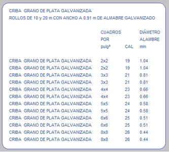 CRIBA GRANO DE PLATA GALVANIZADA TABLA DE ESPECIFICACIONES