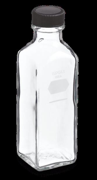 Botella de forma cuadrada para dilución de leche con tapa roscada