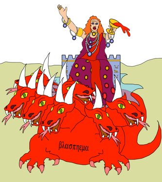 La grande prostituée, l'empire mondial de la fausse religion, qui se livre à l'immoralité avec les rois de la terre est représentée assise sur une bête écarlate à 7 têtes et 10 cornes et couverte de noms blasphématoires.