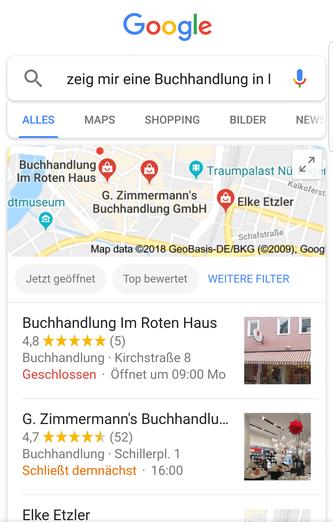 Beispiel für Suchergebnisseite bei Suche mit Sprachassistent