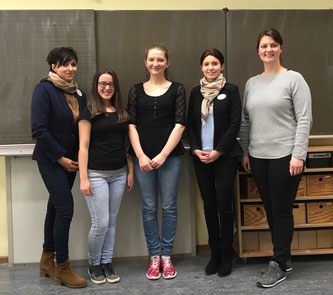 Bild: Frau Bachimont, Frau Bühler beide Europapark, Schüler Kl. 10, Frau Dick, Berufsorientierung