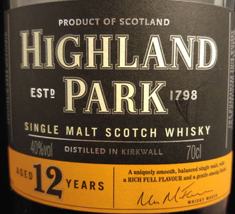 Highland Park 12 Label