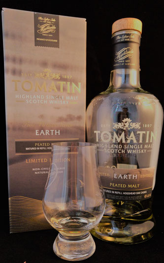 Tomatin Earth Umverpackung und im Glas