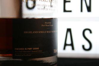 Glenglassaugh Peated Port Wood Flasche und Etikett