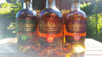 Flaschen der neuen GlenAllachie Range. Speyside Single Malt Whisky