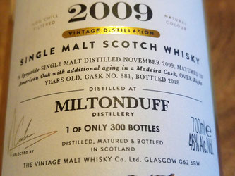 Miltonduff 2009 The Cooper's Choice Label