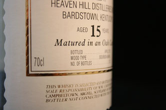Heaven Hill 15 Jahre William Cadenhead's Etikett