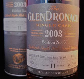 GlenDronach 2003 / 2014. Abgefüllt für Whisky Krüger in Holzbunge