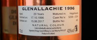 Glenallachie 1996 / 2017 Signatory Vintage Etikett