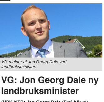 Jon Georg Dale landbruksminister