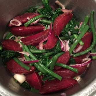 rødbeter stekte karamellisert aspargesbønner