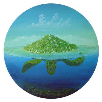 Philipp Heckmann, Maler, Die Schildkröteninsel, Mischtechnik, Ø 50cm
