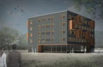 """Wohnraum in drei Monaten - schnell, einfach, wirtschaftlich: Cree stellt """"Gebäudesystem für temporäres Wohnen"""" vor. Foto: Cree"""