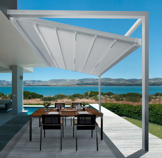 Ein Terrassenfaltdach für höchste Ansprüche: Design-orientiert, regensicher und besonders windstabil. Foto: Foto: leiner.de