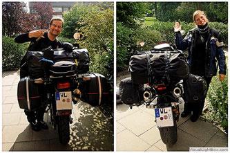 Motorräder gepackt und bereit zur Abfahrt