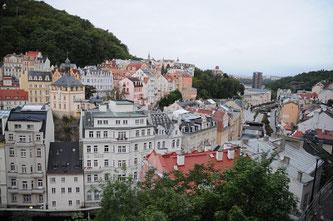 Unser Blick aus dem Hotel in Karlsbad.