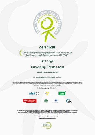Zertifikat ZPP Zentrale Prüfstelle Prävention Krankenkasse Zuschuss