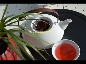 infusion d'hibiscus bio, thé bio, magasin bio en ligne, thé en vrac.