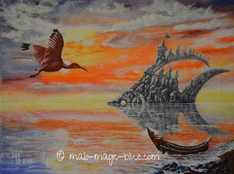 Surrealismus, surreal, Kunst ,Fisch, Burg, ungewöhnlich, auffallend, Freiluftvernissage, Aushängeschild, beliebt, Motiv, Perspektive, Farben, Boot, Grazer, Künstler