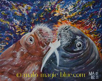 MaLo 2017 * Küssende Walrosse * Original Acrylbild auf Keilrahmen 30 x 24 cm, verkauft