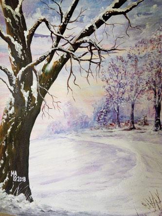 MaLo 2018 * Stille Winterfreude * Original Acrylbild auf Papier im hellen Holzrahmen, ca. 40 x 30 cm, 90,--