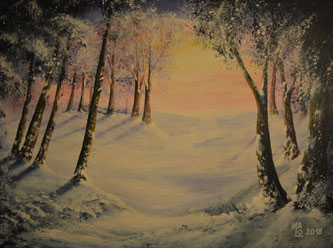 MaLo 2018 * Winterwunderland * Original Acrylbild auf Keilrahmen 40 x 30 cm, € 90,--